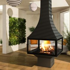 JC Bordelet Julietta 985 Black Line Central Wood Burning Stove