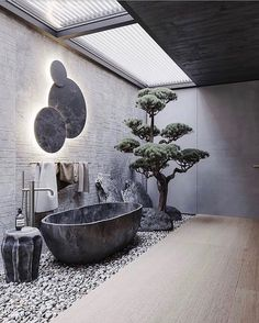 interior decor trends bathroom decor ideas, modern bathroomYou can find Bathroom interior and more on our website. Dream Home Design, Modern House Design, Modern Interior Design, Loft Design, Stone Interior, Modern Decor, Luxury Interior, Japanese Modern Interior, Natural Modern Interior