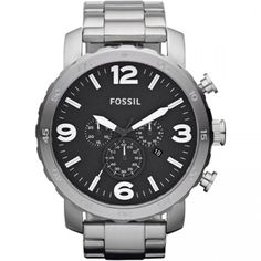 Fossil Men's Chronograph Nate Stainless Steel Bracelet Watch Fossil makes watches that are as cool as they are accessible. This Nate collection timepiece boasts a sleek design with structured steel. Fossil Watches For Men, Cool Watches, Men's Watches, Police Watches, Fossil Jewelry, Jewelry Watches, Silver Jewelry, Fine Jewelry, Stainless Steel Watch