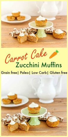 Carrot Cake Zucchini Muffins, paleo, low carb and grain free (low carb sweets with coconut flour) Paleo Dessert, Low Carb Desserts, Healthy Sweets, Gluten Free Desserts, Healthy Baking, Low Carb Recipes, Real Food Recipes, Dessert Recipes, Healthy Drinks