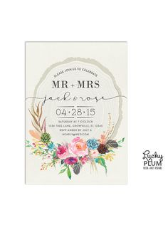 Flower Boho Engagement Invitation // A modern invitation of a flowers, feathers, succulents invoke images of spring. A tree ring against a textured watercolor background // by LuckyPlumStudio