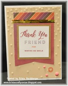 Thanks card_Close to My Heart, cardmaking, Sangria paper, A Thousand Thanks stamp, confetti embossing folder, new colors
