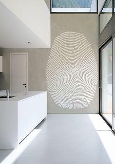 emphasize an idea at www.herrsuite.com // mural, hand-painted, walls, home decor, business art, fingerprint, enlargement, detail, simple, powerful, white, reception area