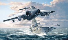Aviation art prints and original paintings from SWA Fine Art publishers Aviation Image, Aviation Art, Commonwealth, Blackburn Buccaneer, Hms Ark Royal, The Art Of Flight, War Jet, Falklands War, Ship Paintings