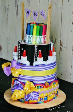 School Supply Cake.. Perfection for a locker organizer too high school / middle school!!