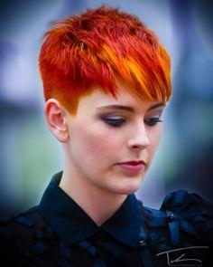 multi-tonal bright orange pixie hair
