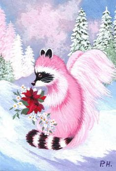 ACEO Print Raccoon Christmas Snow Angel | eBay