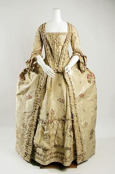 http://www.metmuseum.org/: Dress (Robe à la Française)  Date: 1750–75 Culture: French Medium: silk Dimensions: Length: 61 in. (154.9 cm) Credit Line: Bequest of Maria P. James, 1910 Accession Number: 11.60.221a–c
