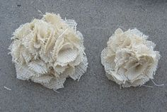 ooak natural burlap flower wedding cake decor toppers. pew bow decor. other colors available. $40.00, via Etsy.