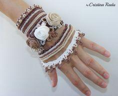 Bracelet crochet lace cuff mocha freeform beaded by raducristina