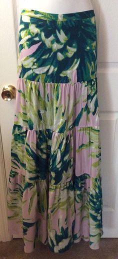 NWT $1,070 JUST CAVALLI Robert Silk Tiered Maxi Skirt Floral Purple Sz 46 10 New  | eBay