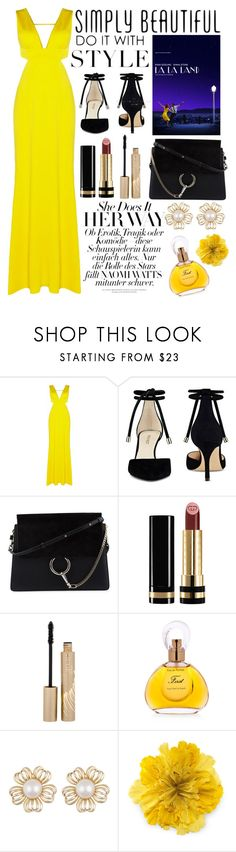 """yellow evening"" by smillafrilla ❤ liked on Polyvore featuring Adrianna Papell, Nine West, Chloé, Gucci, Stila and Van Cleef & Arpels"