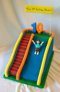 "Inflatable Slide 2 9x13 and 2 9"" carved, covered with fondant and then airbrushed. Little girl is fondant/gumpaste. It was for my..."