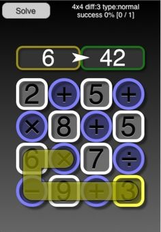PathSums ($0.00) PathSums is a numeric puzzle game  You are presented with a grid of numbers and operations, a starting point and a goal total  The object is to move up, down, left or right from square to square trying to reach the target value  Each operation is carried out on the total as you go, so 3 + 1 x 5 would be 20, not 8  The total can't go below 1 or above 100, and divisions which would lead to fractions are not allowed.  All puzzles given can be completed within these rules.