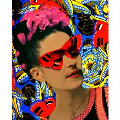 Frida Kahlo Butterfly Art Print Butterfly Mask Mixed Media Collage Photomontage Art Deco Monarch Painted Photograph Red Blue Yellow Orange