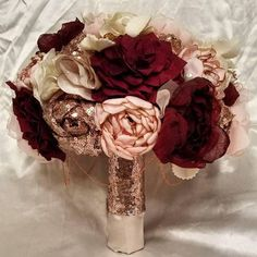 Rose Gold sequin Blush and Burgundy Fabric Bouquet. Made to image 2 Burgundy Bouquet, Burgundy Flowers, Blush Flowers, Blush Bouquet, Lily Bouquet, Gold And Burgundy Wedding, Maroon Wedding, Wedding Bells, Wedding Bouquets