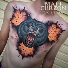 Matt curzon bear tattoo chest neo traditional