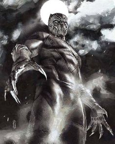 Black Panther by Marco Turini * Black Panther Marvel, Black Panther Storm, Black Panther Art, Comic Movies, Comic Book Characters, Marvel Characters, Comic Books Art, Comic Art, Comic Pics
