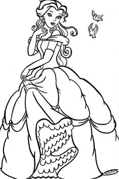 Disney Princess Belle Coloring For Kids - Princess Coloring Pages : KidsDrawing – Free Coloring Pages Online Belle Coloring Pages, Heart Coloring Pages, Preschool Coloring Pages, Horse Coloring Pages, Princess Coloring Pages, Cool Coloring Pages, Disney Coloring Pages, Coloring Pages To Print, Coloring Pages For Kids