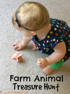 Such a fun treasure hunt for toddlers! Work on communication and observation skills with this great game. Farm Animals Games, Farm Animals Preschool, Animal Activities, Infant Activities, Farm Activities, Toddler Speech, Toddler Teacher, Treasure Hunt For Toddlers, Farm Lessons