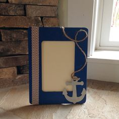Navy Hand Painted Nautical Wooden Picture Frame by CraftyByCasey, $14.00