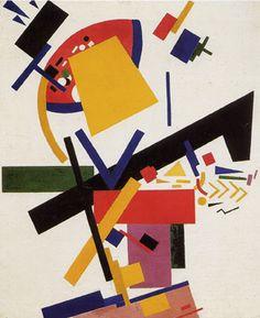"""Suprematism,"" by Kazimir Malevich, oil on canvas, 34 ½ by 28 3/8 inches, 1915, State Russian Museum, St. Petersburg      מהצורות הפשוטות ביותר, לפי אסוציאציות, קומפוזיציה מעניינת במובנים של שיווי משקל"