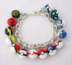 Custom Pokemon Pokeball Bracelet Your Choice of 14 Pokeball Charms by egyptianruin on Etsy