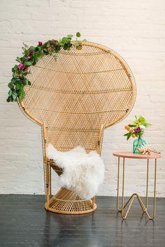 Botanical Meets Bohemian Baby Shower (Style Me Pretty Living) Baby Shower Chair, Boho Baby Shower, Baby Shower Themes, Baby Shower Decorations, Shower Ideas, Bridal Shower, Shower Party, Bohemian Baby, Rattan