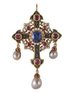 Renaissance revival cross in enameled yellow gold set with one sapphire, 8 rubies and 3 pear shape pearls, circa 1870
