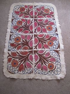 "Vintage Hand Embroidered Felted Wool Rug Cream Floral Peacock Area Rug 45""x64"""