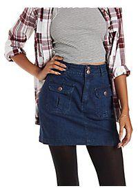 Double Pocket Denim Mini Skirt