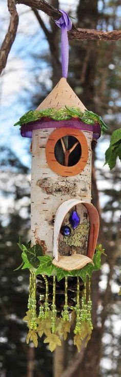 Fairy house with clock.