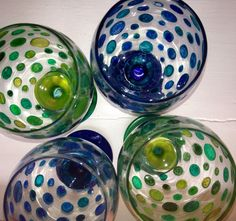 Hand painted spot wine glasses