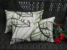 SET OF 2 - Indoor / Outdoor Decorative Rectangle / Lumbar Pillows - Brown, Green, Taupe Botanical Leaf Pattern by PillowsCushionsOhMy, $39.96