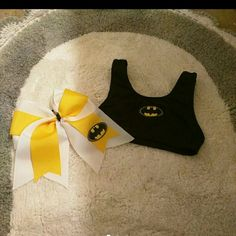 BAT MAN CHEER SET NEW BATMAN CHEER SET THIS IS A GIRLS LARGE BUT I CAN MAKE IN ANY SIZE Tops Crop Tops