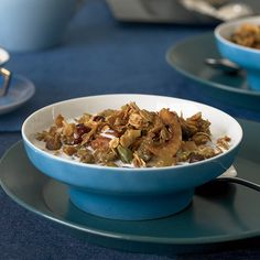 Fruit-and-Nut-Packed Granola | Neal Fraser's signature granola is loaded with rolled oats and dried fruit, plus cashews, almonds, pistachios and pecans. What really makes it stand out are the delicate flakes of grated coconut, which get toasty and sweet during baking.