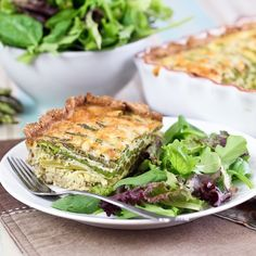 Asparagus and Cheese Quiche - Crust In, Grains Out! (uses left over almond pulp)