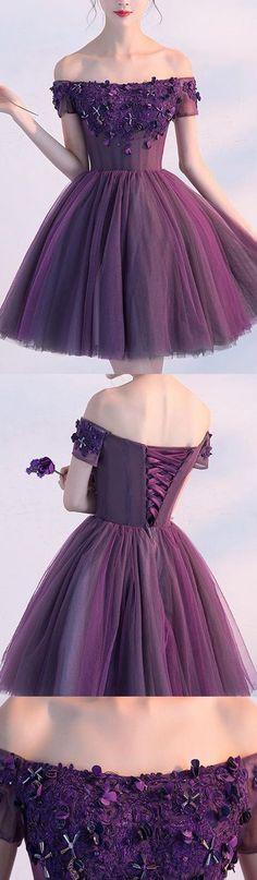 Princess Party Dresses, Purple Prom Dresses, Short Homecoming Dresses With Flower Short Sleeve Mini