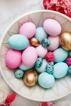 Easter décor ideas | Pastel and gold décor accents | Sourced via Emily Henderson