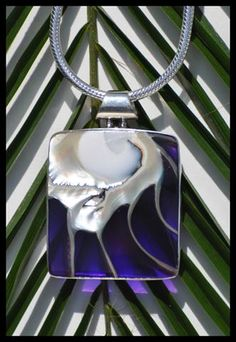 PENDANT- PURPLE AND WHITE STAR SHELL/ STERLING SILVER .925