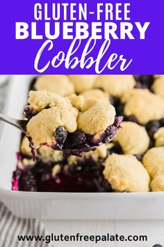 A sweet blueberry filling topped with a crunchy, flaky cobbler biscuit makes this gluten free blueberry cobbler recipe a simple yet delectable dessert. Serve this gluten free blueberry cobbler with ice cream for the perfect treat. Gluten Free Bars, Gluten Free Cupcakes, Gluten Free Baking, Gluten Free Desserts, Easy No Bake Desserts, Gluten Free Blueberry Cobbler, Blueberry Recipes, Sugar Free Recipes, Gf Recipes