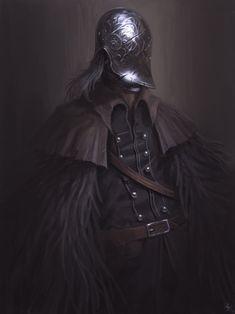 Bloodborne fan art Bloody Crow Of Cainhurst Bloodborne Art, Bloodborne Characters, Dark Souls Art, Old Blood, Samurai, Medieval, Gothic Horror, Soul Art, Dark Fantasy Art