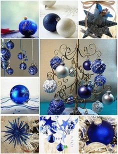 Blue Christmas theme is about trust and sharing.Modern Christmas decor trend, blue glass Christmas decorations, silver, white and blue Christmas decorating themes inspiration Blue Christmas tree or. Christmas Tree Decorating Tips, Silver Christmas Decorations, Painted Christmas Ornaments, Noel Christmas, Christmas Colors, Christmas Themes, White Christmas, Christmas Bulbs, Decorating Ideas
