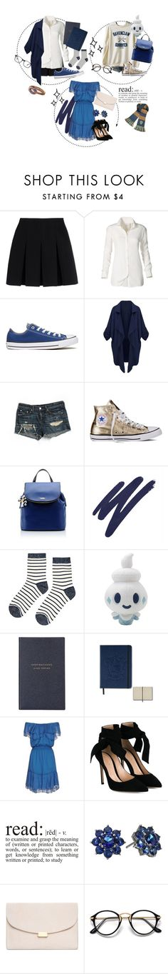 """""""Aubrey, The Ravenclaw Princess"""" by gracie-keaser ❤ liked on Polyvore featuring Alexander Wang, Converse, rag & bone/JEAN, Karl Lagerfeld, By Terry, Accessorize, Smythson, Designers Remix, Gianvito Rossi and WALL"""
