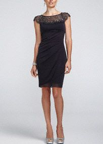 From the office to a night out on town, this a perfect staple dress to add to your collection!  Sheer matte jersey dress features beaded lace cap sleeve bodice with ultra-feminine sweetheart neckline.  Empire waist with side ruching is chic and creates a stunning silhouette.  Fully lined. Imported polyester. Back zip. Professional spot clean only.