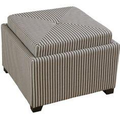 Durban Dark Coffee Stripe Fabric Tray Top Storage Ottoman