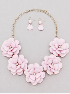 P.S. I Love You More Boutique | Pink Blossoms Necklace & Earring Set | Spring Summer Fashion 2014 www.psiloveyoumoreboutique.com