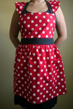 Red and White Polka Dot Minnie Apron $30 Perfect for someone I know!