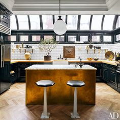 Jeremiah Brent Nate Berkus Designed Greenwich Village Home    Kitchen     Island: Clad In Unlacquered Brass Topped With Breccia Imperiale Marble From  ...