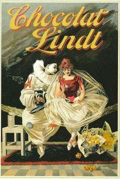 Chocolat Lindt - Vintage Poster cross stitch pattern by Cross Stitch Collectibles Pub Vintage, Vintage Candy, Vintage Diy, Vintage Labels, Vintage Advertising Posters, Vintage Advertisements, Advertising Campaign, Chocolat Lindt, Pierrot Clown